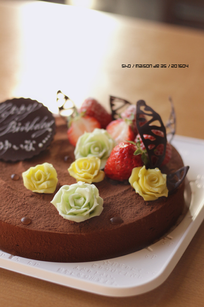 プラチョコ バラ ローズ ムースショコラ バースデー デコレーション 佐渡 オーダーメイドケーキ