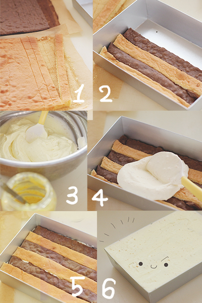 格子模様のスコップケーキの手順